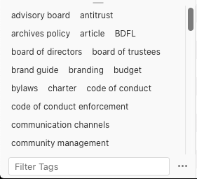 A screenshot of the tag selection widget on Zotero